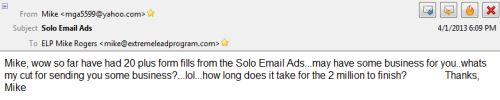 Getting Opt-In's from a Solo Email Ad