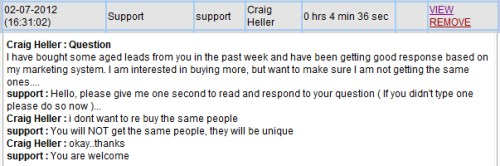 Happy MLM Lead Customer - From a Live Chat Session - 2/7/2012