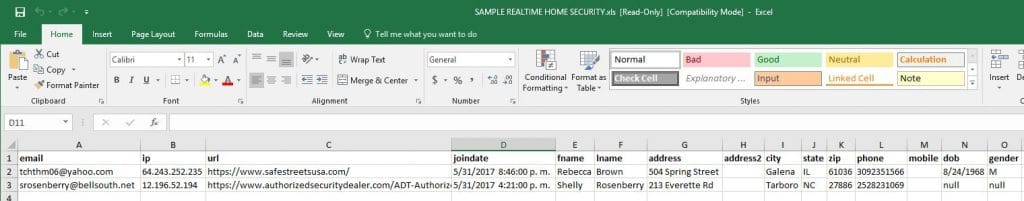 Sample Realtime Home Security Leads