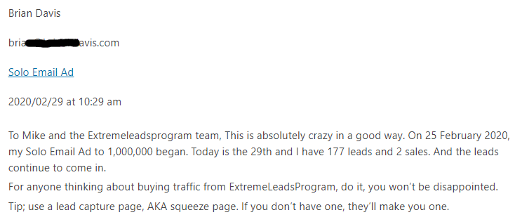 Extreme Lead Program Review Solo Email Ad 177 Leads 2 Sales