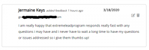 ExtremeLeadProgram responds really fast thumbs up