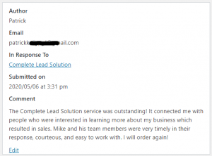 ELP Complete Lead Solution - Review - Service Was Outstanding