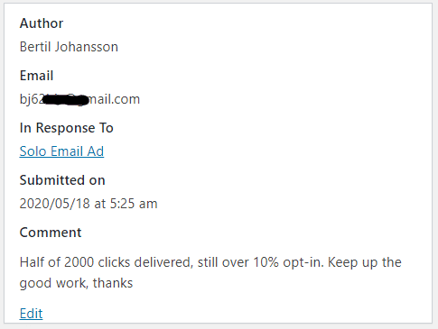 Solo Email Ad - 10% Optin Rate - Keep Up the Good Work
