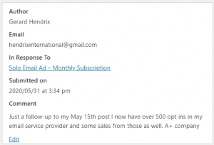 Solo Ad Monthly Review - Followup - 500 Opt-ins - A+ Company