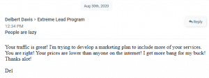 Extreme Lead Program - Testimonial - Your Traffic is great