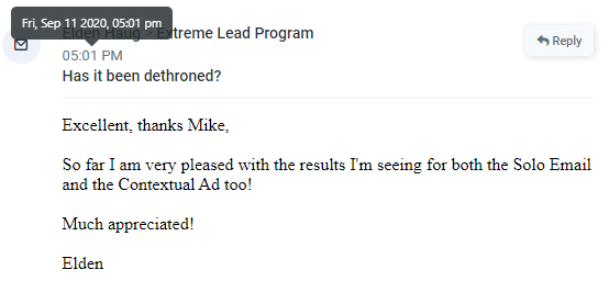 Extreme Lead Program Review - Pleased with solo email ad and contextual ad