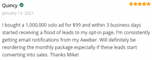 Extreme Lead Program Solo Email Ad Review - Started receiving a flood of leads to my opt-in page