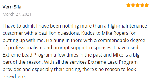 Extreme Lead Program Reviews - Autoresponder/CRM - Kudos to Mike Rogers - commendable degree of professionalistm and prompt responses