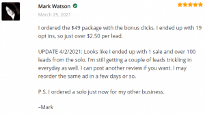 ExtremeLeadProgram.com Reviews - 1 Sale and Over 100 Leads Still Trickling In - May reorder same ad - just ordered a solo for my other business