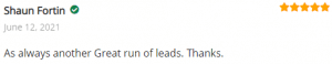 Extreme Lead Program Reviews: As always another Great run of leads. Thanks.