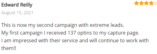Extreme Lead Program Review: This is now my second campaign with extreme leads.  My first campaign I received 137 optins to my capture page. I am impressed with their service and will continue to work with them!!