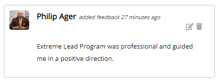 Extreme Lead Program was professional and guided me in a positive direction.